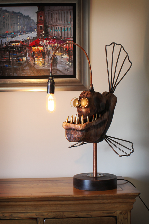 Captivating The Body Of Edison The Angler Fish Lamp Is Made From Burr Oak, Eyes Are  Brass Door Knobs. I Used Salvaged Plumbing Materials For The Lamp And Steel  Bar For ...